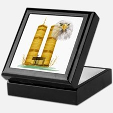 Gold Twin Towers n Eagle Keepsake Box