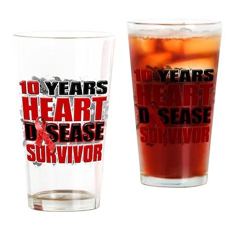 10 Years Heart Disease Surviv Drinking Glass
