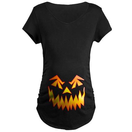 Scary Pumpkin Face Maternity Dark T-Shirt