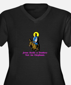 Jesus Rode A Donkey Gifts Women's Plus Size V-Neck