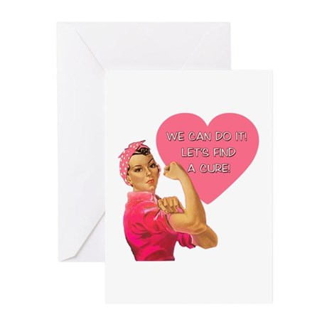 Rosie the Riveter Breast Cancer Greeting Cards (Pk