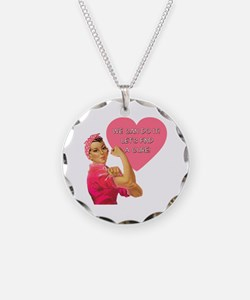 Rosie the Riveter Breast Cancer Necklace