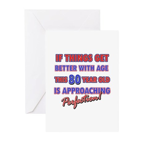 Funny 80th Birthdy designs Greeting Cards (Pk of 1