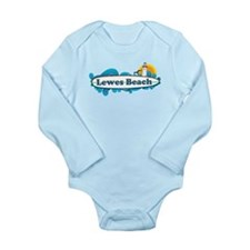 Lewes Beach DE - Surf Design Long Sleeve Infant Bo