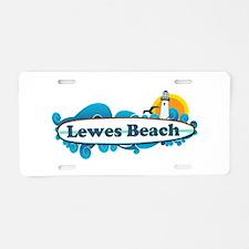 Lewes Beach DE - Surf Design Aluminum License Plat