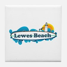 Lewes Beach DE - Surf Design Tile Coaster