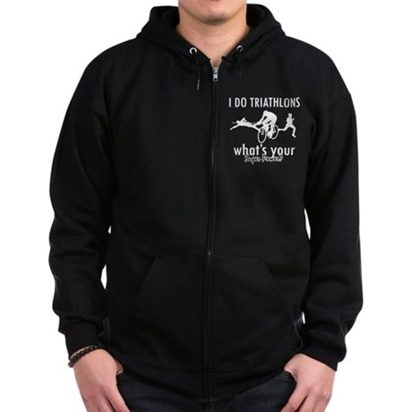 I Triathlons what's your superpower? Zip Hoodie (d