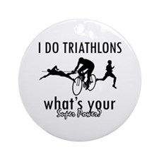 I Triathlons what's your superpower? Ornament (Rou