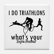 I Triathlons what's your superpower? Tile Coaster