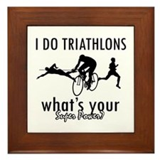 I Triathlons what's your superpower? Framed Tile