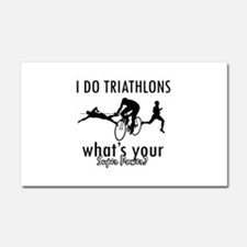 I Triathlons what's your superpower? Car Magnet 20