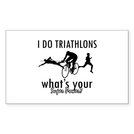 I Triathlons what's your superpower? Sticker (Rect