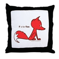 """F is for Fox"" Throw Pillow"