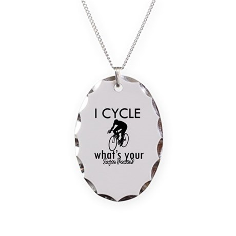 I Cycle Necklace Oval Charm
