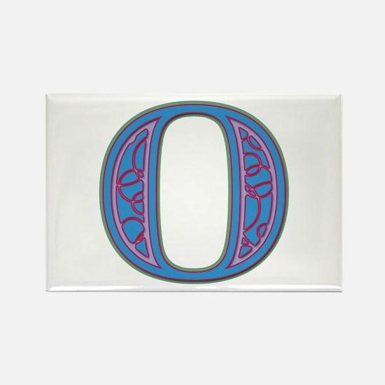 O Blue Glass Rectangle Magnet