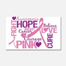 Breast Cancer Words Car Magnet 20 x 12