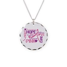 Breast Cancer Words Necklace Circle Charm