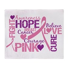 Breast Cancer Words Throw Blanket