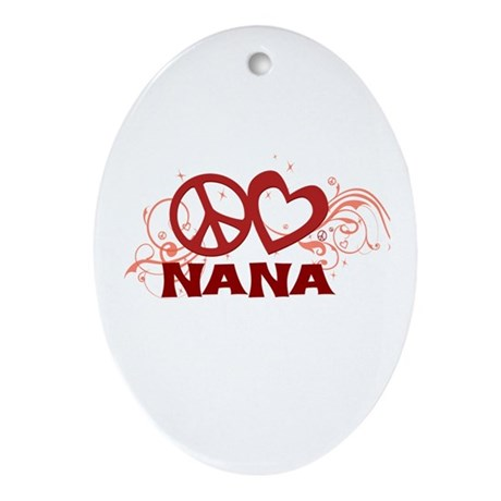Peace Love Nana Ornament (Oval)