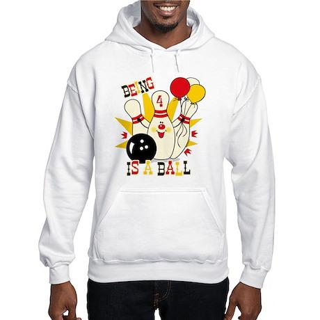 Cute Bowling Pin 4th Birthday Hooded Sweatshirt