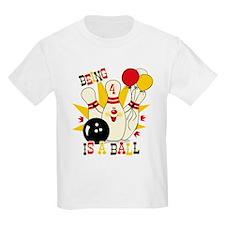 Cute Bowling Pin 4th Birthday T-Shirt