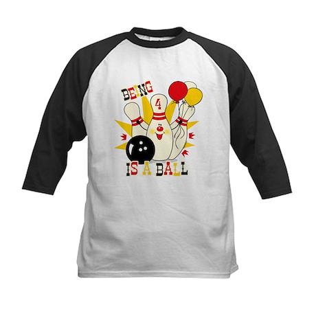 Cute Bowling Pin 4th Birthday Kids Baseball Jersey