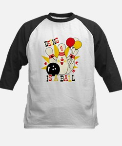 Cute Bowling Pin 4th Birthday Kids Baseball Jersey