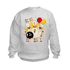 Cute Bowling Pin 4th Birthday Sweatshirt