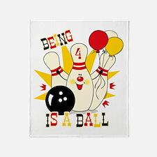 Cute Bowling Pin 4th Birthday Throw Blanket