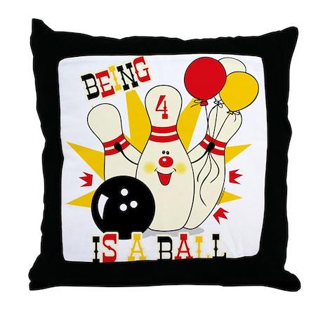 Cute Bowling Pin 4th Birthday Throw Pillow