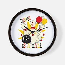Cute Bowling Pin 4th Birthday Wall Clock