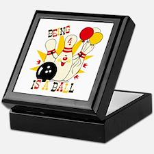 Cute Bowling Pin 4th Birthday Keepsake Box