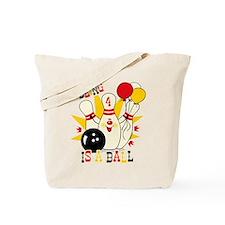 Cute Bowling Pin 4th Birthday Tote Bag