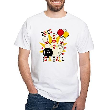 Cute Bowling Pin 5th Birthday White T-Shirt