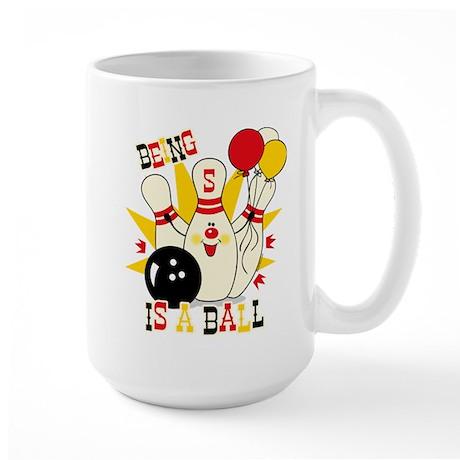 Cute Bowling Pin 5th Birthday Large Mug