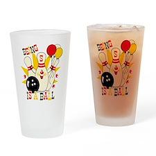 Cute Bowling Pin 5th Birthday Drinking Glass