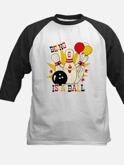 Cute Bowling Pin 6th Birthday Kids Baseball Jersey