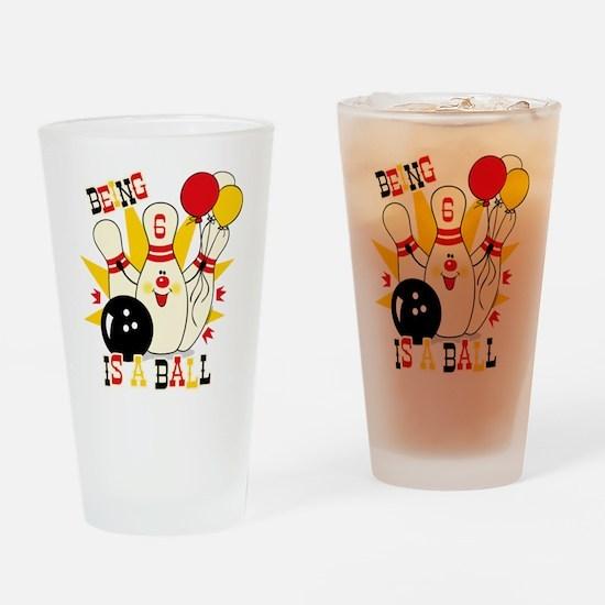 Cute Bowling Pin 6th Birthday Drinking Glass