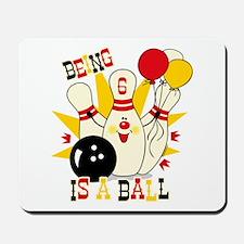 Cute Bowling Pin 6th Birthday Mousepad