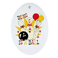 Cute Bowling Pin 6th Birthday Ornament (Oval)