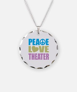 Peace Love Theater Necklace Circle Charm