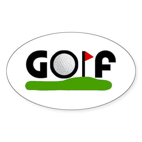 'Golf' Sticker (Oval)