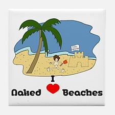 I Love Naked Beaches Tile Coaster