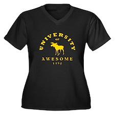 AWESOME UNIV Women's Plus Size V-Neck Dark T-Shirt