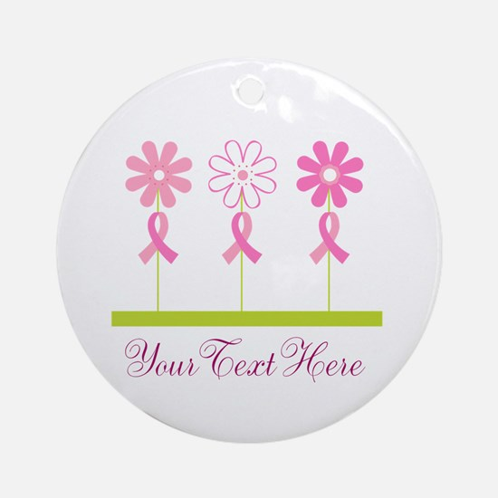 Pink Ribbon Personalized Breast Cancer Ornament (R