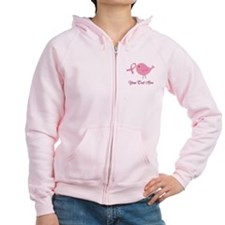 Personalized Pink Cancer Bird Zip Hoodie