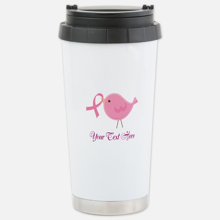 Personalized Pink Cancer Bird Travel Mug