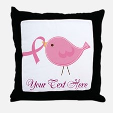 Personalized Pink Cancer Bird Throw Pillow