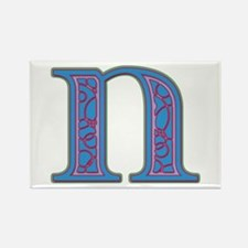 N Blue Glass Rectangle Magnet