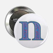 N Blue Glass Button